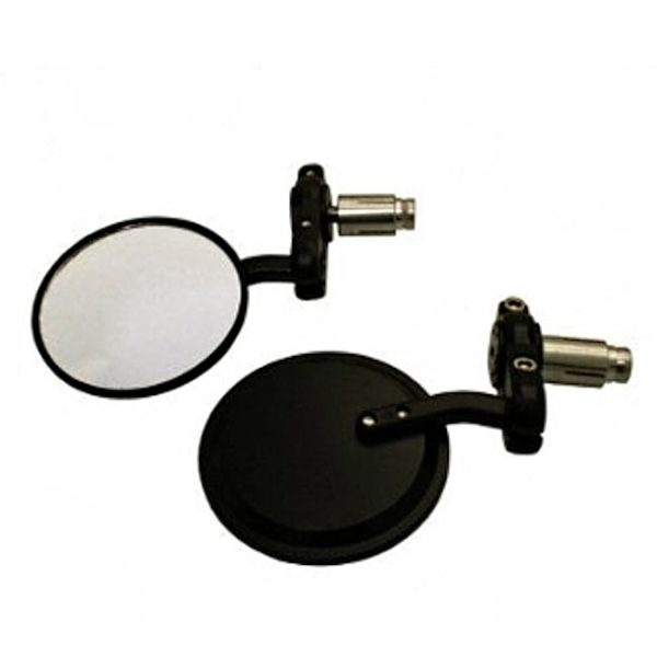 Black Round Bar End mirror  7/8 (22mm) works on either side